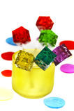 Colorfull dice lollipops Stock Images