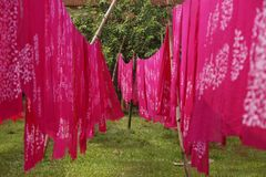 Colorfull dyed cloth at Bandi. Bangladesh stock photography
