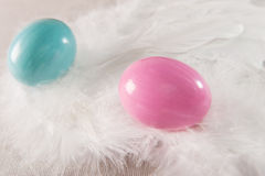 Colorfull Easter eggs on feather background Royalty Free Stock Images