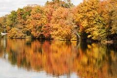 Colorfull-Fallblätter, die in Southards-Teich sich reflektieren lizenzfreie stockbilder