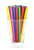 Colorfull felt-tipped pens in a glass, isolated Royalty Free Stock Photography