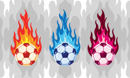 Colorfull Flaming Soccer Ball. Flaming soccer ball  design. Vector football with different color of fire Royalty Free Stock Photography