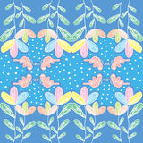 Colorfull flower with butterfly and polkadot. Colorfull flowers and green leaf with pink butterfly and polka dot, Very cute pattern for anything Stock Photo