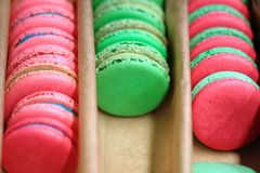 Colorfull french macarons in the box stock photos
