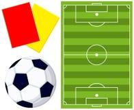 Colorfull-Fußballfeld-Schiedsrichterkarten-Ikonensatz stock abbildung