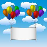Colorfull helium balloons and banner in sky. Vector illustration Royalty Free Stock Photos