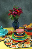 Colorfull holiday table setting with flower's Stock Photo