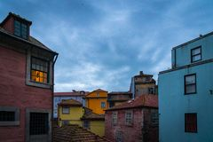 Colorfull house in the city of porto during a cloudy day at twlight stock photo