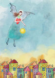 Colorfull houses and guardian angel. Watercolor illustration Stock Images