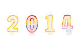 Colorfull leuchtet Zahl von Jahr 2014 durch. Stockfoto