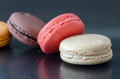 Colorfull macaroons are on the table. royalty free stock image