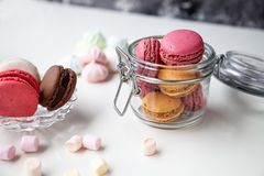 Colorful macaroons with marshmallows royalty free stock image
