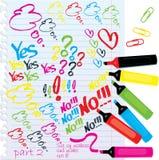 Colorfull Markierungen und Markierungen Lizenzfreie Stockbilder