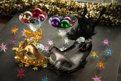 Colorfull Masks for masquerade party. Stock Photo