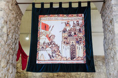 Colorfull medieval tapestry Stock Photo