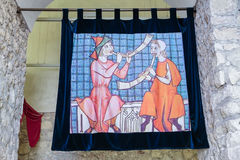 Colorfull medieval tapestry Stock Image