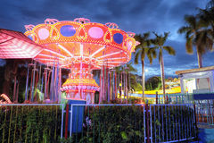 A Colorfull Merry go round in Dam Sen Park, Sai Gon, Viet Nam. At night Royalty Free Stock Photography