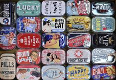 Colorfull metal tin box with vintage advertising royalty free stock image
