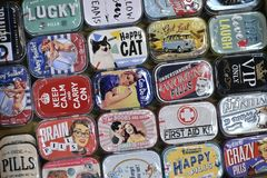 Colorfull metal tin box with vintage advertising Royalty Free Stock Images