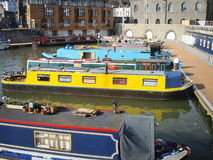 Colorfull narrow boats. Traditional narrow boats in the harbourside of Bristol, England Royalty Free Stock Photo