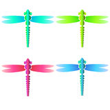 Colorfull neon glass dragonfly set Stock Images