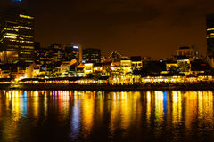 Colorfull Night scene of Singapore river, Clark query Royalty Free Stock Images