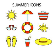 Colorfull outline web icon set on the theme of summer, vacation, beach Royalty Free Stock Images