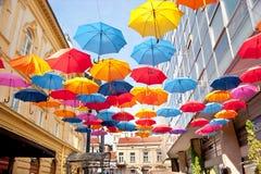 Colorfull paraplyer Arkivbild