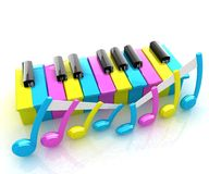 Colorfull piano keys Stock Photos