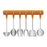 Colorfull rack utensils kitchen icon Stock Image