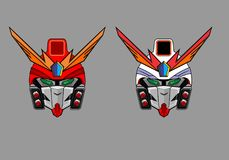 Colorfull robots. Base from gundam and transformers both are iconic movie,this is the diferent color style it can be use for poster and tshirt stock images