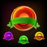 Colorfull-Satz helle Farbmedaillen am dunklen Hintergrund Stockfoto