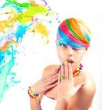Colorfull-Schönheits-Modeporträt Lizenzfreie Stockfotografie