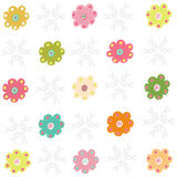Colorfull simple flowers greeting vector Stock Photo