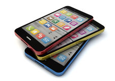 Colorfull smartphones Royalty Free Stock Photos