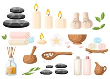 Colorfull spa tools and accessories black basalt massage stones herbs mortar rolled up towel oil gel and candles  illustrati. On on white and blue background Stock Photos