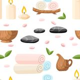 Colorfull spa tools and accessories black basalt massage stones herbs rolled up towel candles and oil  illustration on white. Background with place for your Royalty Free Stock Photography