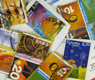 Colorfull stamps. Several international post stamps royalty free stock photo