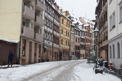Colorfull street of Nuremberg in winter time. Bavaria. Germany. Royalty Free Stock Photos