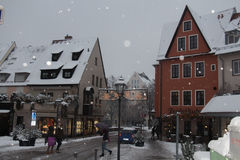 Colorfull street of Nuremberg in winter time. Bavaria. Germany. Royalty Free Stock Image