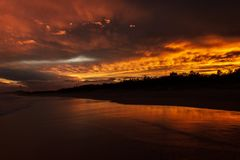 Colorfull sunset at Noosaville beach, Sunshine Coast, Australia. royalty free stock photo