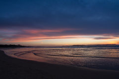 Colorfull sunset at Somo beach Royalty Free Stock Photography