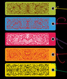 Colorfull tags with ornaments Royalty Free Stock Photos