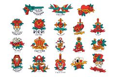 Colorfull tattoos in vintage style set of vector Illustrations stock illustration