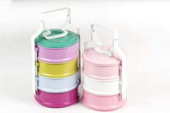 Colorfull Three tier food container Royalty Free Stock Images