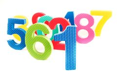 Colorfull toys shaped numbers. In an  view Royalty Free Stock Image