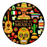 Mexican attributes on black background. Colorfull traditional Mexican attributes on black background. Vector illustration royalty free illustration