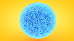 Colorfull Triangulation Sphere, Deformed Surface, 3D Rendering.  Stock Photos