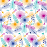 Colorfull tropical leaves seamless pattern Stock Photos