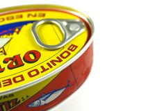 Colorfull tuna can closeup Stock Photos